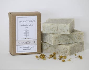 CHAMOMILE Homemade Soap, BeesBotanics all Natural Soap, Guest Soap, Natural Artisan Soap, Valentine Gift, Facial Soap with Chamomile Herb