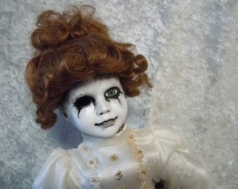 Creepy Doll in White and Gold Dress #86 Dark Art  Horror Collectible