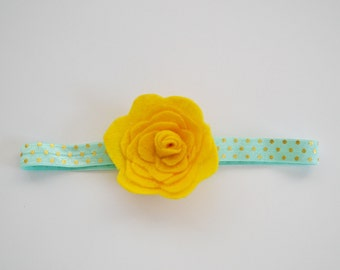 CLEARANCE Yellow and Blue Felt Flower Child Headband