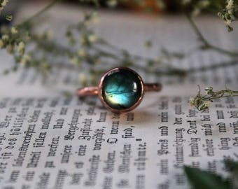 Labradorite Stackable Copper Ring Size 9