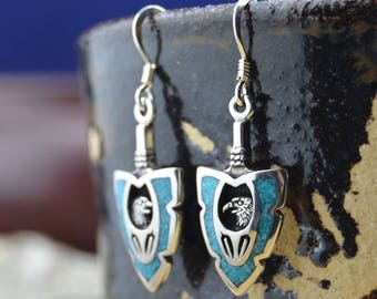 Navajo designed sterling silver & turquoise eagle arrowhead earrings