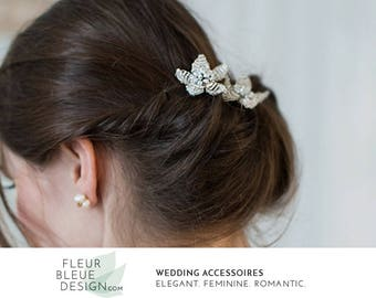 flower hair pins | bridal hair jewelry | bridal hair pins | beaded headpiece silver | wedding hair accessories | flower hair accessory