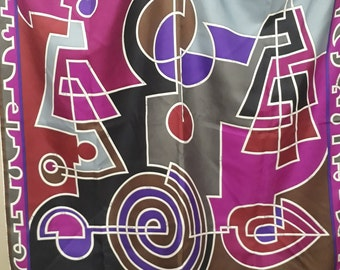 ORIGINAL Vintage 1960s 1970s EMILIO PUCCI silk scarf with modernist print Lord & Taylor