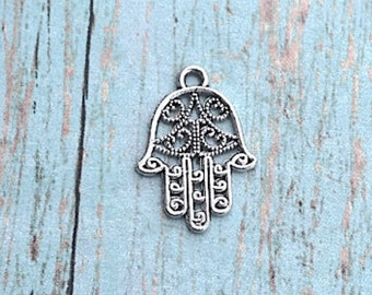 8 Hamsa hand charms (2 sided) antique silver tone - silver hamsa pendants, khamsa pendants, religious charms, hand of Fatima charms, F17