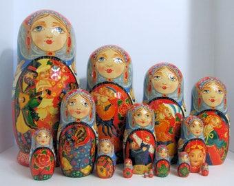 "Hand Painted One of a kind 15 pcs Russian Nesting Doll ""Skomorokhi"" by Smirnova"