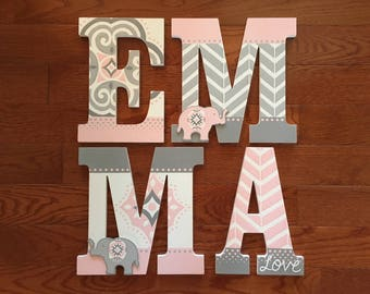 Custom Hand-Panted Letters match WENDY BELLISSIMO ELODIE Pink & Gray Elephants Nursery Bedding Personalized Wood Name... Priced Per Letter