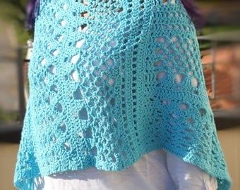 Summer Crochet Poncho, Shoulder Wrap, Capelet in cotton, light turquoise, made to order in any colour