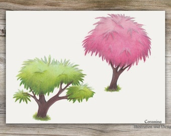 Original illustration tamarisk tree
