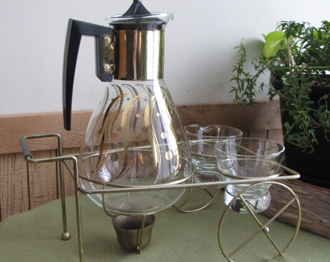 Vintage Coffee Cart and Carafe with Candle Warmer Cream and Sugar Bowls