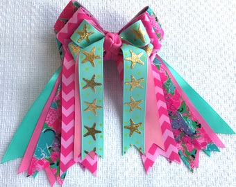 Hair Bows 4 Shows/Teal Pink Lilly Inspired Equestrian clothing