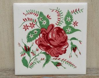 Vintage Wheeling Rose Tile/Trivet!