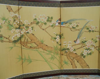 Gorgeous Asian Hand Painted Silk Folding Screen with Cherry Blossom and Bird Motif!