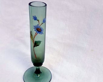 Antique Glass Bud Vase Hand Painted Flower