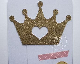 Crown Cake Topper, Cake Topper. gold crown with heart, glitter gold cake topper, crown cake topper, baby shower cake topper