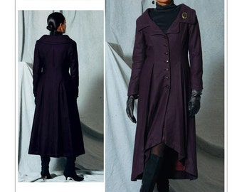 Vogue Sewing Pattern V1529 Misses' Portrait Collar, Pleated Coat