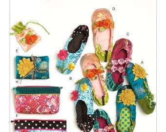 McCall's Sewing Pattern M6715 Slippers, Jewelry Pouch, Zipper Bags and Jewelry Case