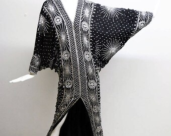 70s/80s  Black Silver Beaded Sequined Deco Batwing Dolman Sleeve Deco Maxi  Dress Silk Chiffon