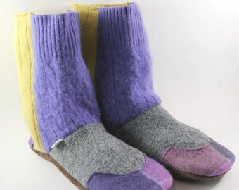 Cozy Gifts- Gift for Wife- Slipper Boots- Valentine Gift- Get Well Gift- Hygge Gift- College Care package- Wool Slippers- Womens Pajamas