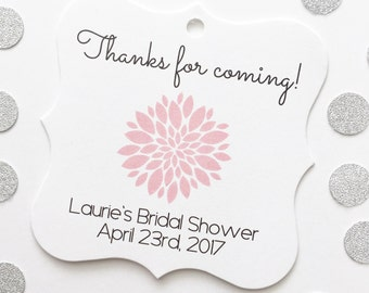 Bridal Shower Tags, Custom Bridal Shower Favor Tags, Mum Flower Favor Tags  (FS-073)