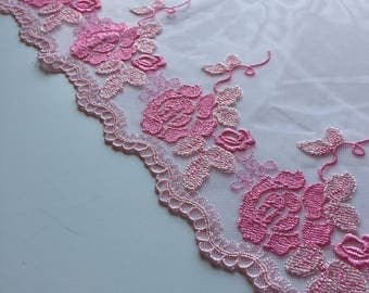 "PINK, 10"" Wide, Embroidered Floral Lace Trim, BTY By The Yard"