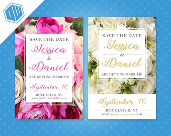 Personalized Printable Save-The-Date for your wedding | Floral | 4'' x 6'' | Pink, Purple, White, Faux Gold Glitter | DIY Printable File