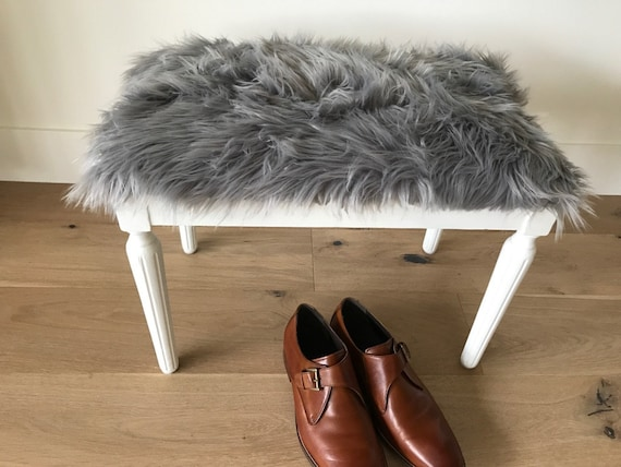 Modern Fur Stool Vintage White Legs With Modern Grey