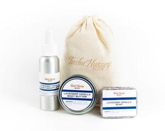 Lavender Vanilla Travel Size Products, Travel Soap, Travel Aromatherapy Spray, Travel Size Body Butter, Travel Gift Set