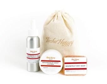 Grapefruit Mint Travel Size Products, Travel Soap, Travel Aromatherapy Spray, Travel Size Body Lotion, Travel Gift Set
