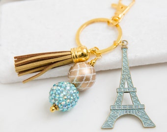 Eiffel Tower Key Chain, France Key Chain, Paris Key Chain, Patina