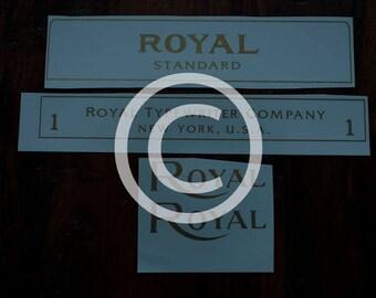 Royal model 1 or 5 Flatbet Typewriter Water Slide Decal set