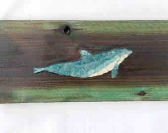 Sea Glass dolphin wall art sea glass mosaic dolphin on wood beach house art nautical nursery decor sea glass dolphin art decor