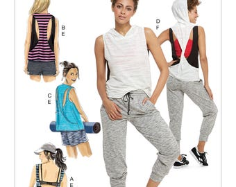 McCall's Pattern M7610 Misses' Pullover Tops with Back Variations and Pull-On Shorts and Pants with Elastic Waist