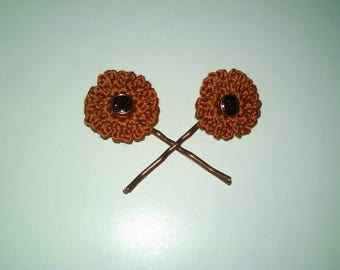 Orange flower Bobby pins