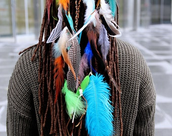 bandeau tressé épi brillant plumes accessoire coiffure original bohemian ethnique tribal hairband