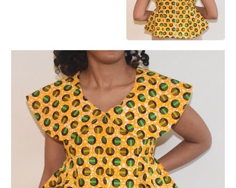 African Print Peplum Top, Ankara Peplum Top, Party Blouse,Yellow African Print Blouse,Kitenge Peplum Top, African Clothing, Women's clothing