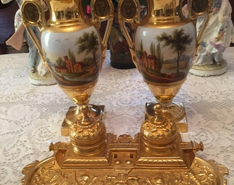 Antique Old Paris URNS and Inkwell. C. 1740 - 1800