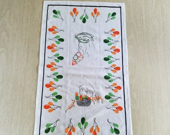 Vintage Tea Towel in Orange, Green and Red Balloons and Turkey's