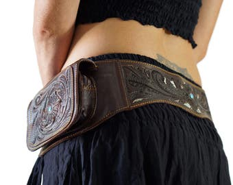 BROWN ROSE - Handmade Leather Utility Belt With Pockets Renaissance Hip Pouch Belt Festival Burning Man Belt Steampunk Belt
