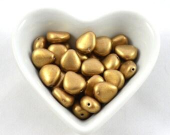 Czech glass beads Heart 12x11mm Fantasie Metallic Gold (pack 10pc)