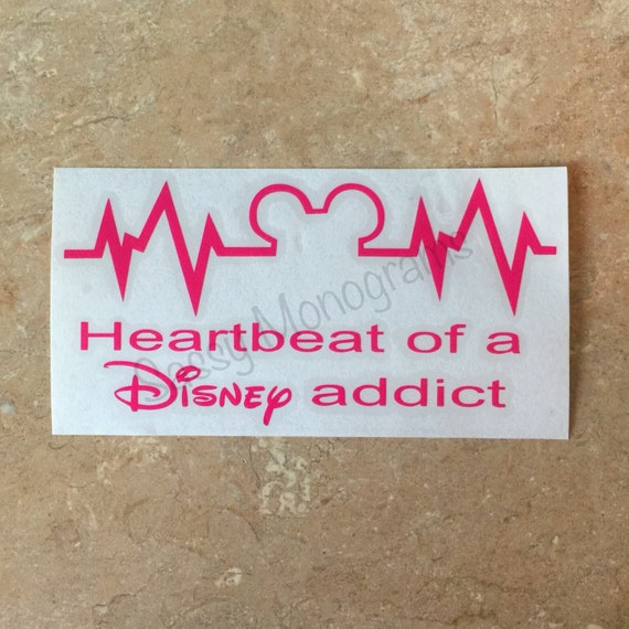 Heartbeat Of A Disney Addict Vinyl Decal Disney Car Decal - Disney custom vinyl decals for car