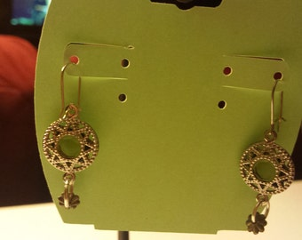 Silver Toned Earrings with Green Crystal