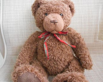 "Vintage Retired Gund Comfort Brown 16"" Teddy Bear with Ribbon Tie and Plaid Paws ~ Clean"