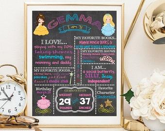 Pretty Princess Birthday Chalkboard Poster