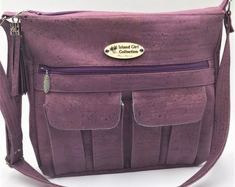 Cargo Bag, Cross body Bag, Messenger Bag, Travel Bag, School Bag, Large Handbag in Grape/Plum Cork Leather - Made in Maui