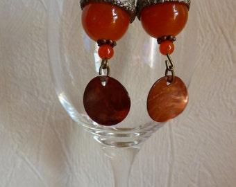 Summer orange earrings - Made in FRANCE