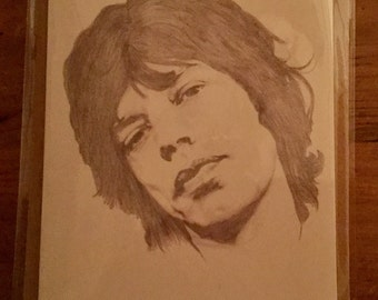 Mick Jagger printed birthday card. Artist is my husband Carl Seager. ( Seager Artworks) Rustic envelope and protective cellophane cover.