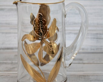 Gold Trim Orchid Floral Pitcher / Creamer