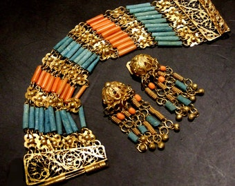 """Egyptian brass and Egyptian paste tube beads in traditional bracelet with matching clip-on earrings. fits 7"""" wrist   (Egypt set)"""