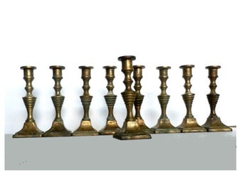 Antique 9 Vintage Brass Candle Holders, Hanukkah Menorah, Candlesticks, Judaica, Shabbat Candle Holder, Brass Home Decor