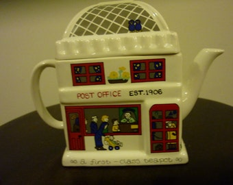 Vintage  Wade Ceramic Teapot, English General Store Post Office Teapot. English Life Teapots.  Made in England .